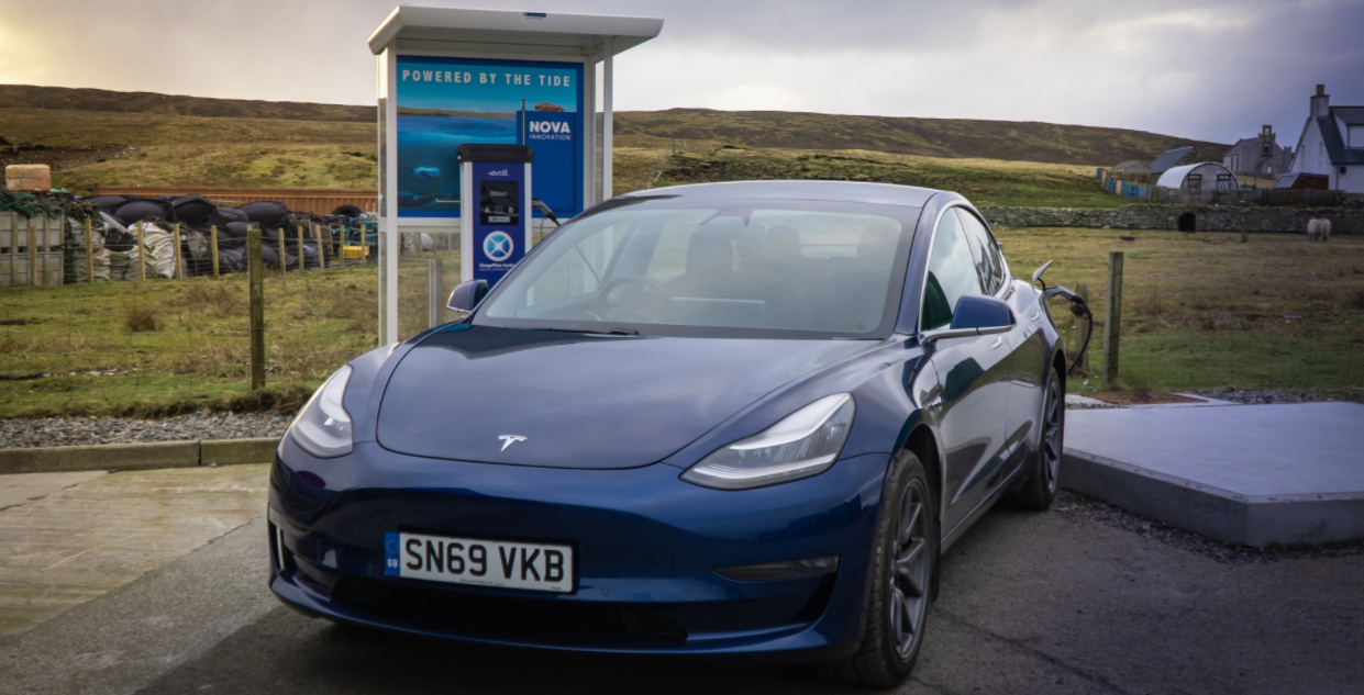 The EV charge point is located on the scenic shores of Bluemull Sound, at Cullivoe harbour on the island of Yell in Shetland.